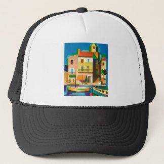Colourful holiday scene trucker hat