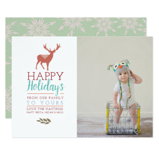 Colourful Holidays   Photo Holiday Card