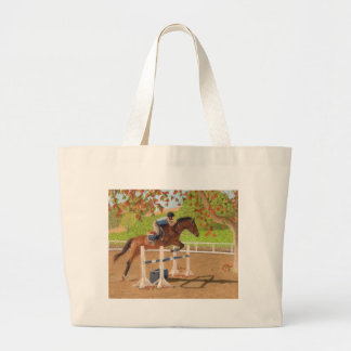 Colourful Horse & Rider Jumping Large Tote Bag