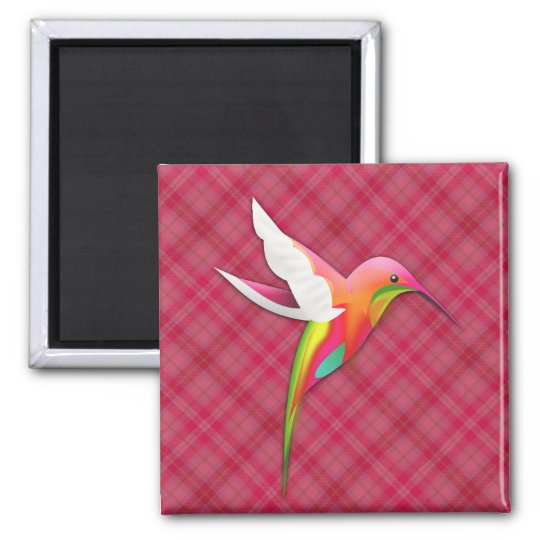 Colourful Hummingbird with Vivid Pink Plaid Magnet