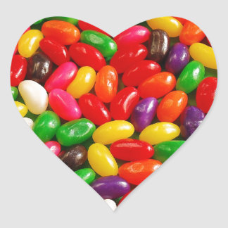 Colourful jellybean candy heart sticker