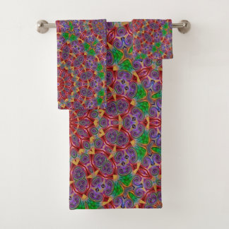 Colourful Kaleidoscope Design Bathroom Towel Set