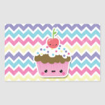Colourful Kawaii Cupcake on Chevrons Rectangle Sticker