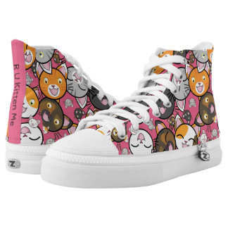 Colourful Kawaii Kitty Faces Top ZipZ Tennis Shoes