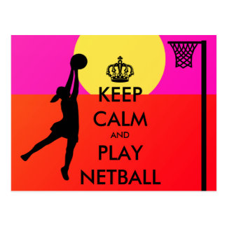 Colourful Keep Calm and Play Netball Quote Postcard