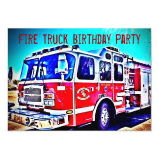 Colourful Kids Fire Truck Birthday Party Card
