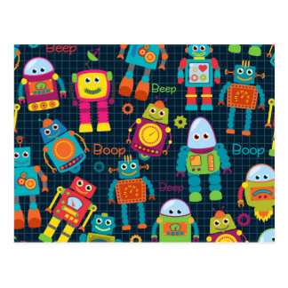 Colourful Kids Robot Postcard