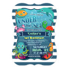 Colourful Kid's Sea Life Birthday Party Invitation