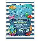 Colourful Kid's Sea Life Birthday Party Invitation Postcard