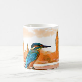 Colourful Kingfisher Bird With London Skyline Coffee Mug