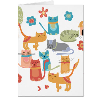 Colourful Kitty Cats Print Gifts for Cat Lovers Greeting Card