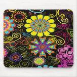 Colourful Large Retro Flowers Mousemat