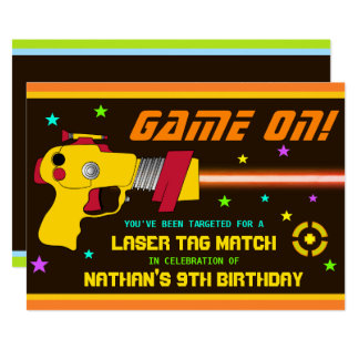 Colourful Laser Tag Kids Birthday Party Invitation