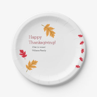 Colourful Leaves Thanksgiving 7 Inch Paper Plate