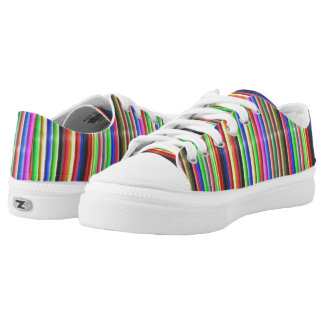 colourful line pattern printed shoes