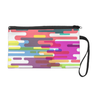 Colourful Line Pattern Wristlet