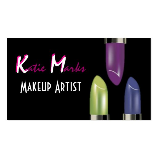 Colourful Lipsticks Makeup Artist Business Card