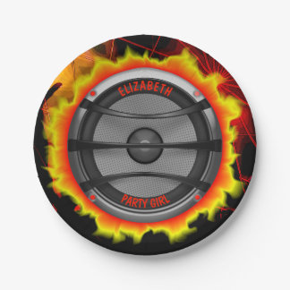 Colourful Loud Music Speaker Dancing Party 7 Inch Paper Plate