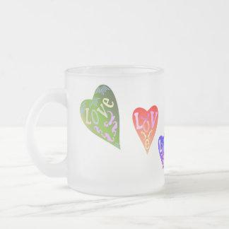 colourful love in heart shape coffee mug