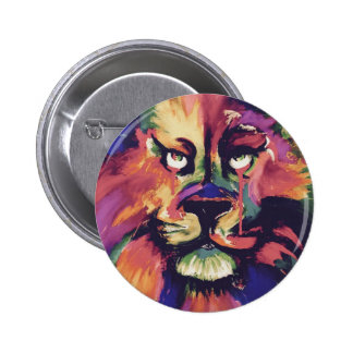 Colourful male lion face badge tattoo ink painting