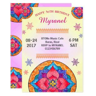 Bollywood invitations announcements zazzle au colourful mandala birthday invitation stopboris Choice Image