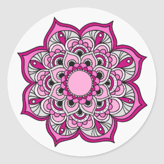 Colourful Mandala Design Classic Round Sticker