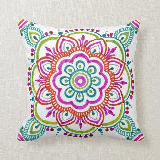 Colourful mandala floral design pillow