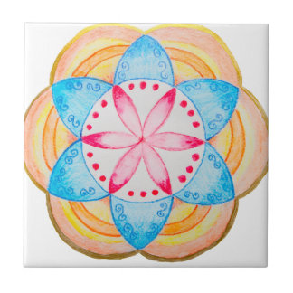 Colourful Mandala Flower Hand Painted Ceramic Tile