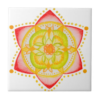 Colourful Mandala Flower Hand Painted Ceramic Tiles