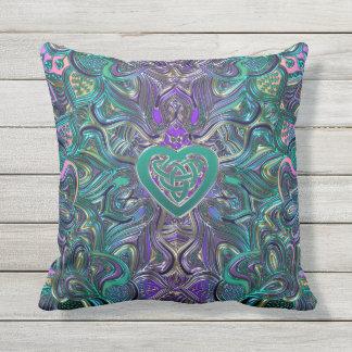 Colourful Mandala With Celtic Heart Outdoor Cushion