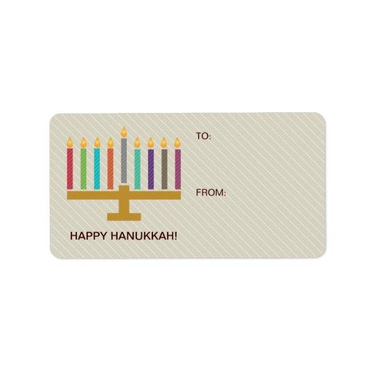 Colourful Menorah Hanukkah Gift Address Label