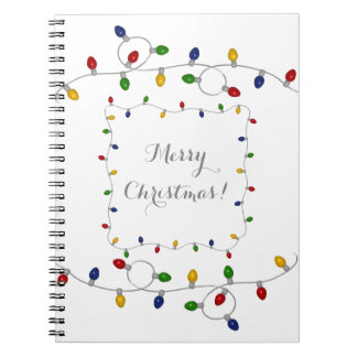 Colourful Merry Christmas Lights Notebook