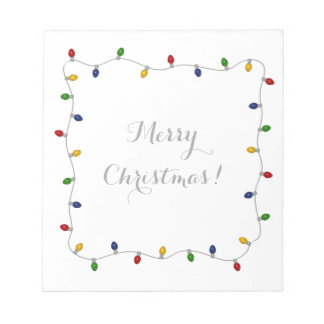 Colourful Merry Christmas Lights Notepad