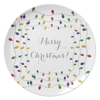 Colourful Merry Christmas Lights Plate