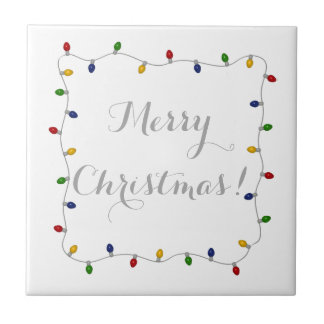Colourful Merry Christmas Lights Small Square Tile