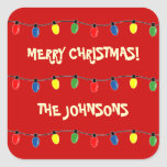 Colourful Merry Christmas tree lights gift tags Square Sticker