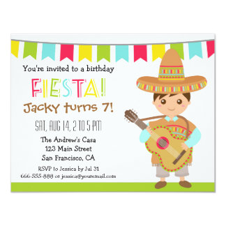 Colourful Mexican Fiesta Kids Birthday Party 11 Cm X 14 Cm Invitation Card