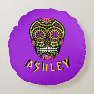 Colourful Mexican Sugar Skull Day Of The Dead Name Round Cushion