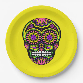 Colourful Mexican Sugar Skull Day Of The Dead Paper Plate