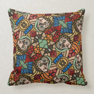 Colourful Modern Abstract Faces Pattern Cushion