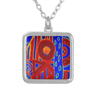 Colourful modern flurescent designed products silver plated necklace