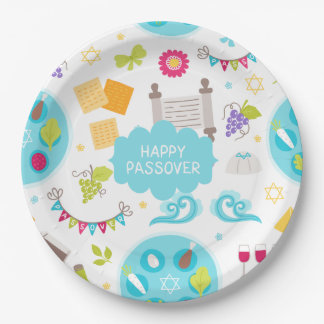 Colourful Modern Happy Passover 9 Inch Paper Plate