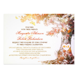 colourful modern oak tree wedding invitations