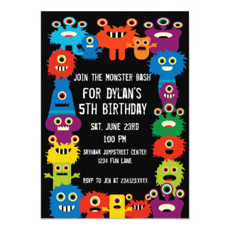 Colourful Monsters Kids Birthday Party Invitations