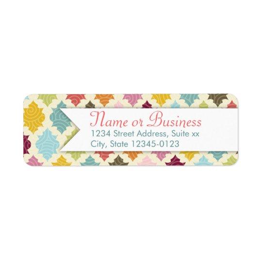 Colourful Moroccan Quatrefoil Custom Address Return Address Label
