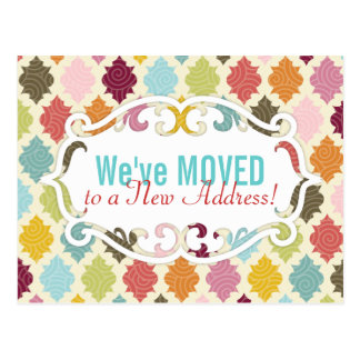 Colourful Moroccan Quatrefoil Moving / Moved Cards Postcard