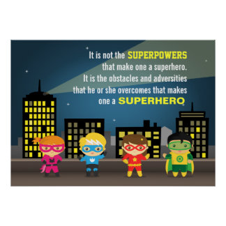Colourful Motivating Superhero Quote For Kids Room Print
