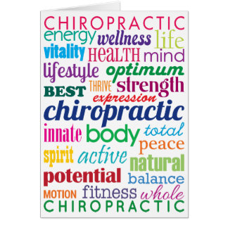Colourful Motivational Word Collage Chiropractic Card