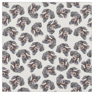 Colourful multi cute Dachshund art Fabric