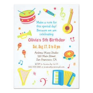 Colourful Music Instruments Kids Birthday Party 11 Cm X 14 Cm Invitation Card